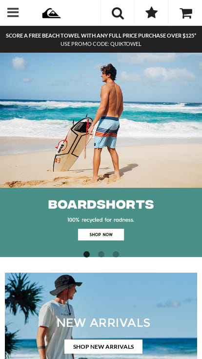 Quiksilver website shown on mobile